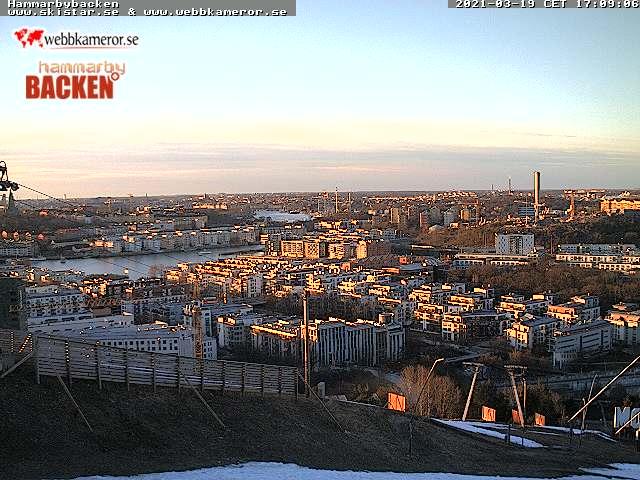 Webbkamera - Hammarbybacken, vy över Hammarby sjöstad